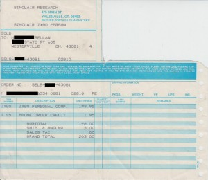 Sinclair ZX80 Invoice